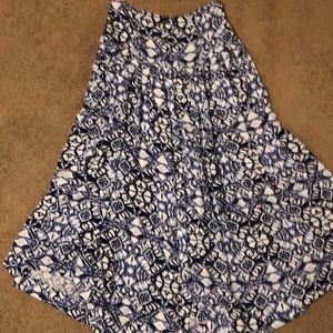 Free People Blue Button-up Boho Maxi Skirt